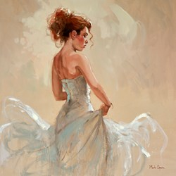 Flamenco Study by Mark Spain - Original Painting on Board sized 24x24 inches. Available from Whitewall Galleries